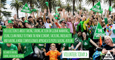Greens electiongeorgehawkeThe Greens advertise for volunteers for Australian 2016 electionAspects of environmentalismTesting the idea of evolution in