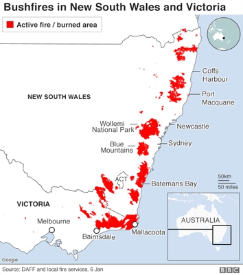 Area burnt by bushfires in NSW and Victoria - BBC News