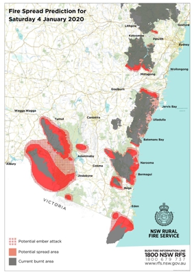 Areas burnt in NSW up to 4 January 2020