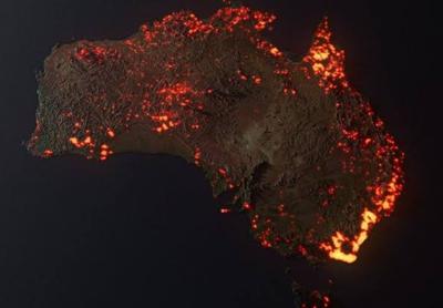 Graphic visualization of Australian thermal satellite data in December 2019