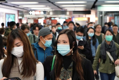 Many people wearing masks as protection against the COVID-19 coronavirus