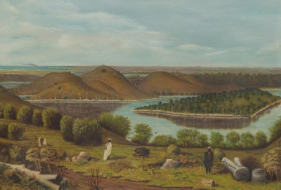 View of Tower Hill Warrnambool, painting by Daniel Clarke 1867