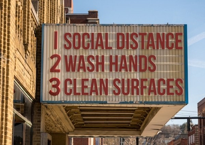 COVID-19 response measures include: social distance, wash hands, & clean surfaces