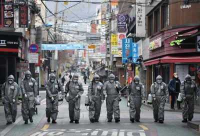 South Korean soldiers spray disinfectant in Seoul