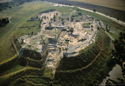 Arerial view of Tell Megiddo