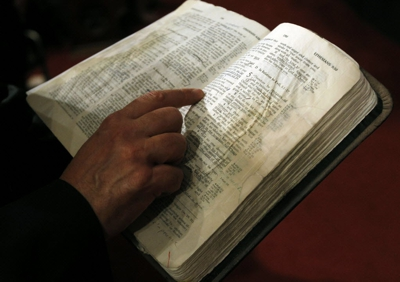 A person reading the Bible