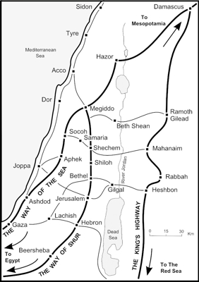 Map of ancient routes across Palestine