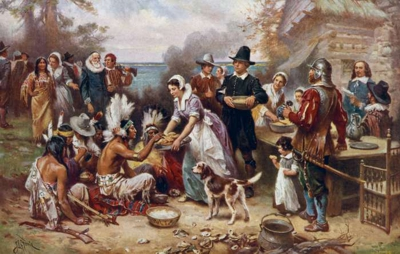 Painting of the first Thanksgiving - JLG Ferris