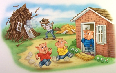 The two little pigs were terrified and ran to the third pig's house that was made of bricks