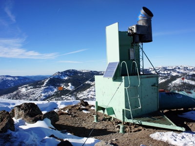 Cloud-seeding tower at Alpine Meadows ski area near California's Lake Tahoe - 2014