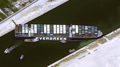 """""""Ever Given"""" container vessel stuck in the Suez Canal, March 2021"""
