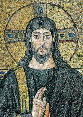 Sixth-century AD mosaic of Jesus from the Basilica of Sant'Apollinare Nuovo in Ravenna, Italy
