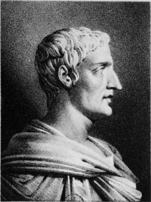 Drawing of the Roman historian Cornelius Tacitus (AD 56-120) by Julien (1915), based on an antique bust