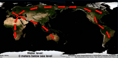 Migration routes across land bridges during the ice age