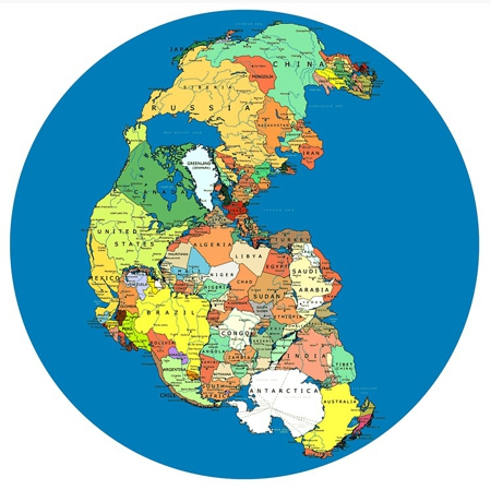 Possible arrangement of Pangea supercontinent with modern borders